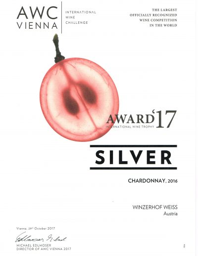 Auszeichnung 2017 Silbermedaille Chardonnay
