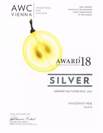Auszeichnung 2018 Silber Gruener Veltliner