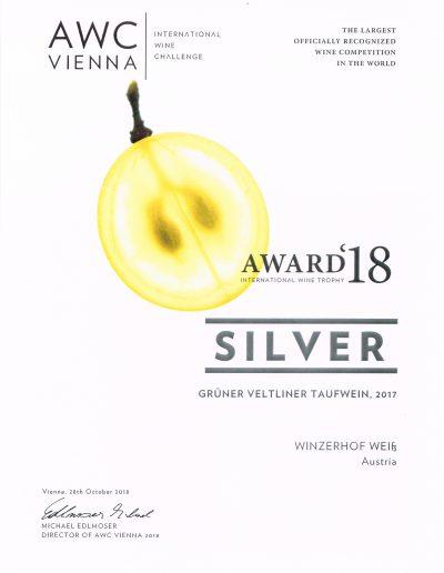 Auszeichnung 2018 Silber Gruener Veltliner DAC