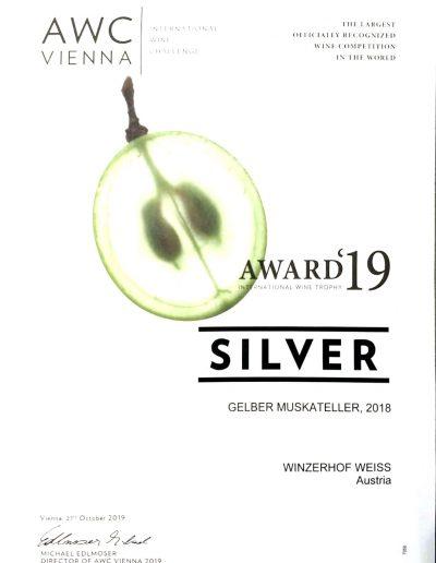 Auszeichnung 2019 Gelber Muskateller
